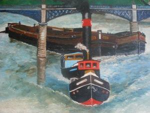 """Tableau représentant le bateau """"Erié"""" ayant appartenu à la famille Dumont"""