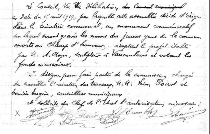 Délibération du Conseil Municipal en sa séance du 28 septembre 1919