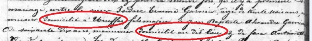 Extrait du mariage d'Isidore Garnier et de Catherine Boussel à Vaucouleurs (55)
