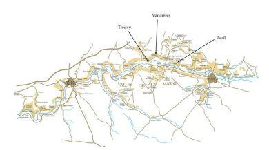 Localisation des 3 villages d'origine du couple dans la Vallée de la Marne