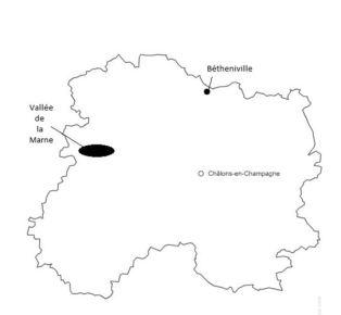 Localisation de la Vallée de la Marne et de Bétheniville dans le département de la Marne